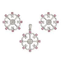 Imagem de Conjunto flor pedras natural rosa - 1100830