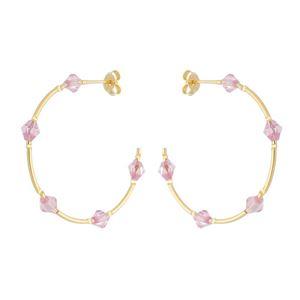Imagem de Brinco argola fio com pedras rosa - 0521857
