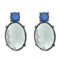 Imagem de Brinco pedra azul e oval fumê - 0521871*
