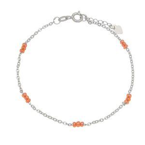 Imagem de Pulseira cadeado com pedras laranja - 0404994