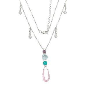 Imagem de Corrente pedras coloridas e gota rosa - 0304542
