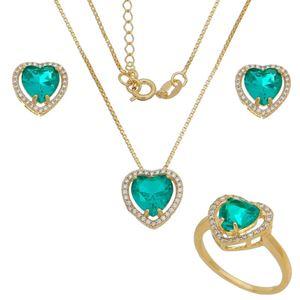 Imagem de Conjunto coração pedra natural verde - 1100855