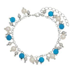 Imagem de Pulseira bolas pérolas e bolas azul - 0405038