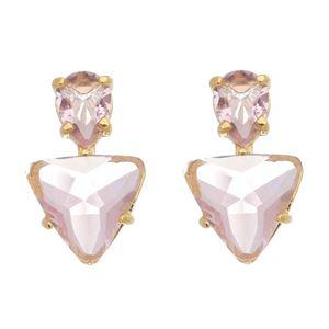 Imagem de Brinco triângulo pedra natural rosa - 0521976
