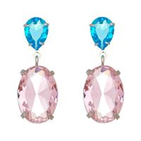Imagem de Brinco pedra oval rosa e gota azul - 0522170*