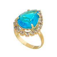 Imagem de Anel gota e pedras strass - 0106538 Azul