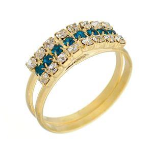 Imagem de Anel 3 fileiras com pedras strass - 0105288 Azul Aqua