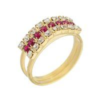Imagem de Anel 3 fileiras com pedras strass - 0105288 Pink