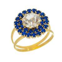 Imagem de Anel pizza com pedras strass - 0105664 Azul