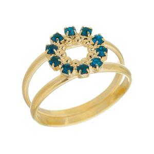 Imagem de Anel círculo com pedras strass - 0105222 Azul Aqua