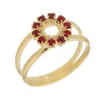 Imagem de Anel círculo com pedras strass - 0105222 Vermelho