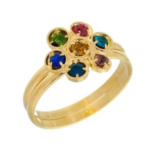 Imagem de Anel flor com pedras strass colorido - 0105538