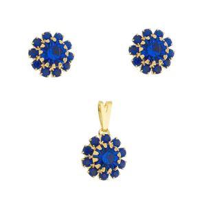 Imagem de Conjunto flor pedras strass azul bic - 1100900