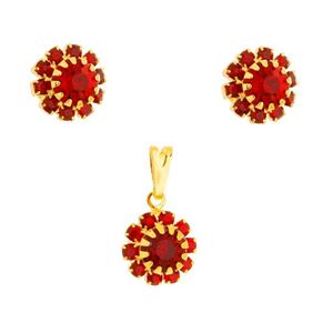 Imagem de Conjunto flor pedras strass vermelho - 1100902