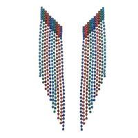 Imagem de Brinco fios com pedras strass colorido - 0522241*