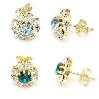 Imagem de Brinco flor strass - 0511242 Verde e Azul