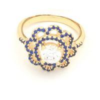 Imagem de Anel flor com micro zircônia - 0104876 Azul