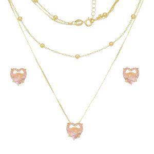 Imagem de Conjunto pedra coração natural rosa - 1100910