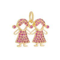 Imagem de Pingente 2 meninas com pedras zircônia - 0206902