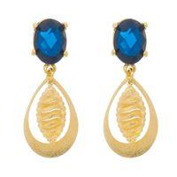 Imagem de Brinco chapa diamantada e pedra azul - 0522371