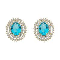 Imagem de Brinco oval com pedra natural azul - 0522420