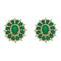 Imagem de Brinco oval pedras natural verde - 0518767