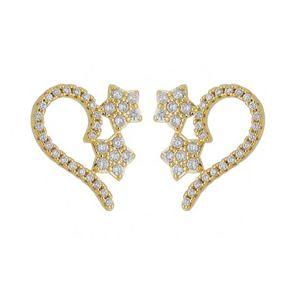 Imagem de Brinco fio e estrelas com zircônia - 0522478