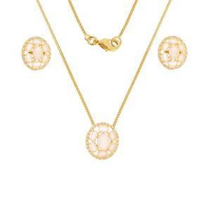 Imagem de Conjunto oval natural rosa leitoso - 1100333=
