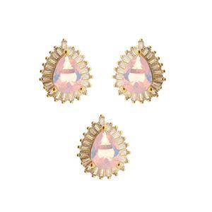 Imagem de Conjunto gota rosa com pedras zircônia - 1100239=