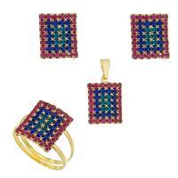 Imagem de Conjunto com pedras strass colorido - 1100416=