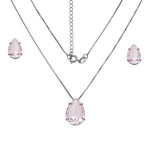 Imagem de Conjunto pedra gota natural rosa - 1100934