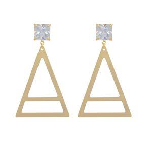 Imagem de Brinco chapa triângulo e zircônia - 0522630