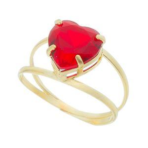 Imagem de Anel coração com pedra vermelha - 0106782