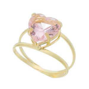 Imagem de Anel coração com pedra rosa - 0106783