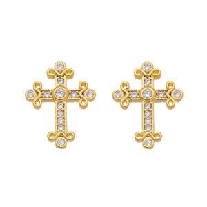 Imagem de Brinco cruz com pedras zircônia - 0522742