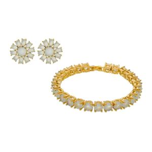 Imagem de Conjunto flor com pedras zircônia - 1100961