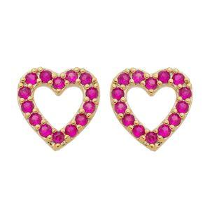 Imagem de Brinco coração zircônia pink - 0522996
