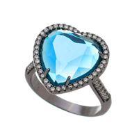 Imagem de Anel coração pedras zircônia - 0106762 Azul