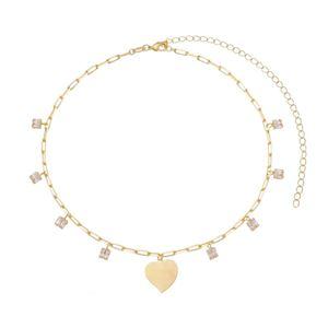 Imagem de Corrente choker coração e pedras; 30cm - 0305030