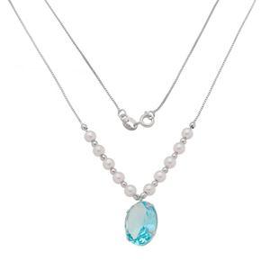 Imagem de Corrente pérolas e pedra azul; 45cm - 0305011