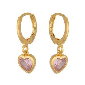 Imagem de Brinco argola coração zircônia rosa - 0522066