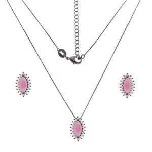 Imagem de Conjunto navete pedra fusion rosa - 1100989