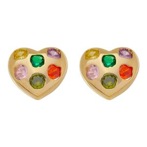 Imagem de Brinco coração pedras coloridas - 0523344
