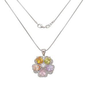 Imagem de Corrente flor pedras zircônia colorida - 0305264