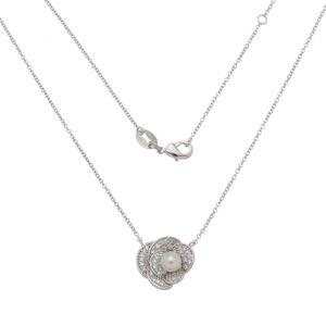 Imagem de Corrente flor pedras zircônia e pérola - 0305269