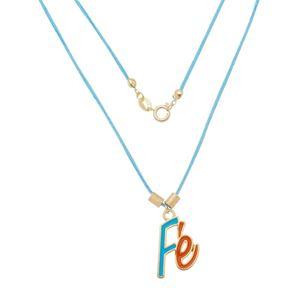 Imagem de Corrente fita azul com pingente Fé - 0305276