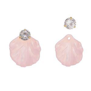 Imagem de Brinco concha rosa com zircônia - 0523465