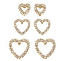 Imagem de Brinco trio coração com zircônia - 0523475