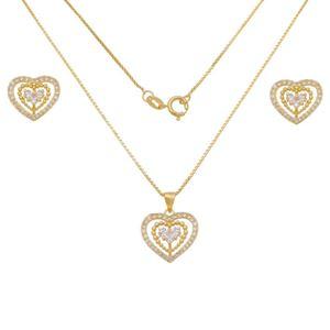 Imagem de Conjunto coração com pedras zircônia - 1101005
