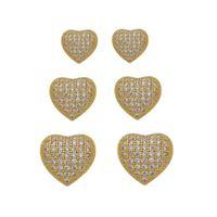 Imagem de Brinco trio coração com pedras zircônia - 0523568
